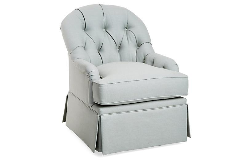 Marlowe Swivel Club Chair, Sea Linen