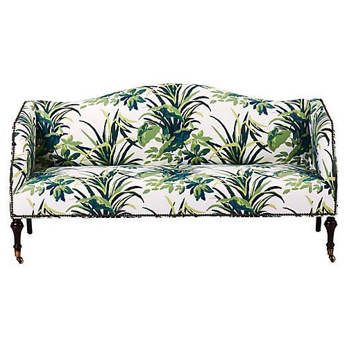 Lydia Camelback Settee, Palm Leaf