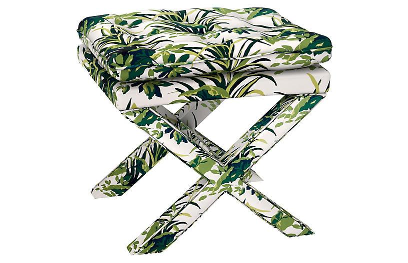 Dalton Pillow-Top Ottoman, Palm Leaf