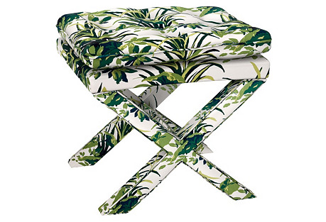 Perry Pillow-Top Ottoman, Palm Leaf