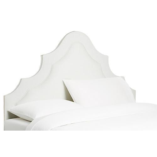 Dorset Arched Headboard, White Linen