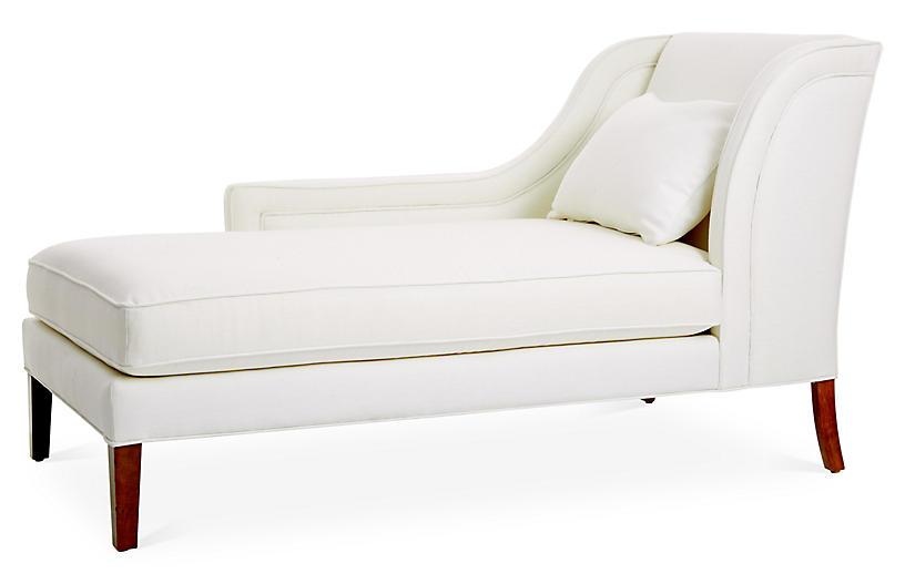 Roslin Left-Facing Chaise, White Linen