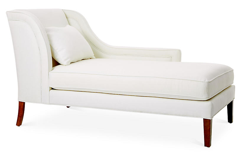 Roslin Right-Facing Chaise, White Linen