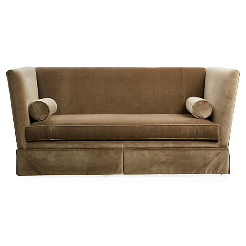 Carlisle Skirted Sofa, Mink Velvet