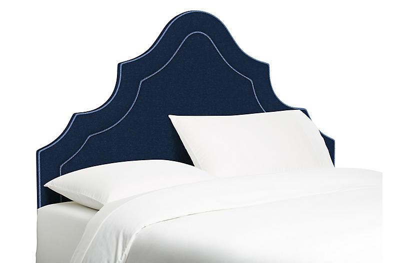 Dorset Headboard, Blue/Navy Linen