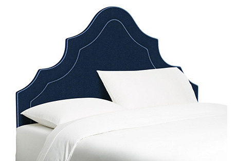 Dorset Arched Headboard, Blue/Navy Linen