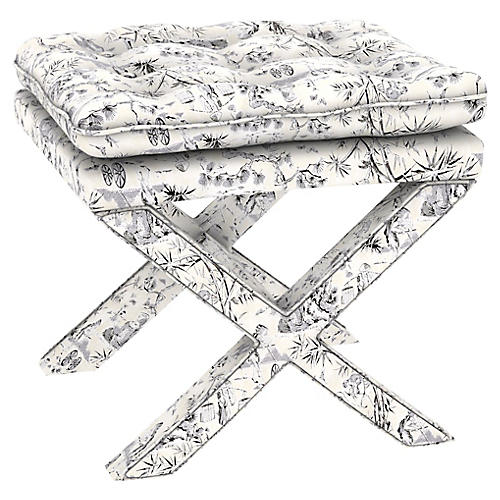 Dalton Pillow-Top Ottoman, Black Toile