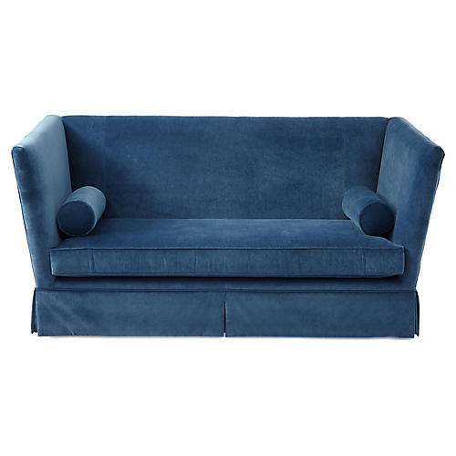 Carlisle Skirted Sofa, Peacock Velvet
