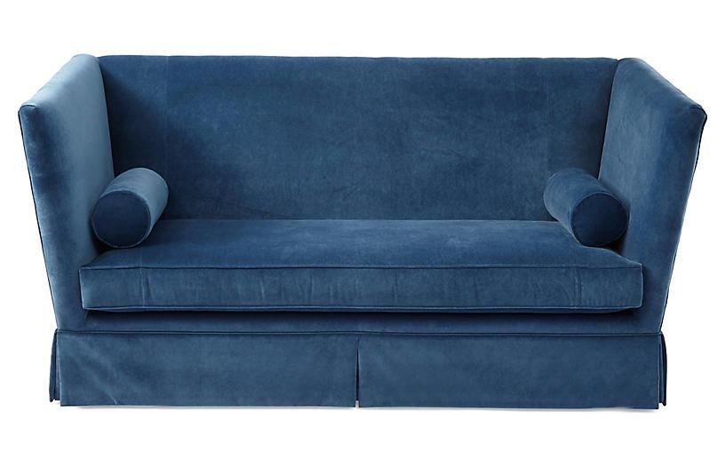 Carlisle Skirted Sofa, Peacock Velvet