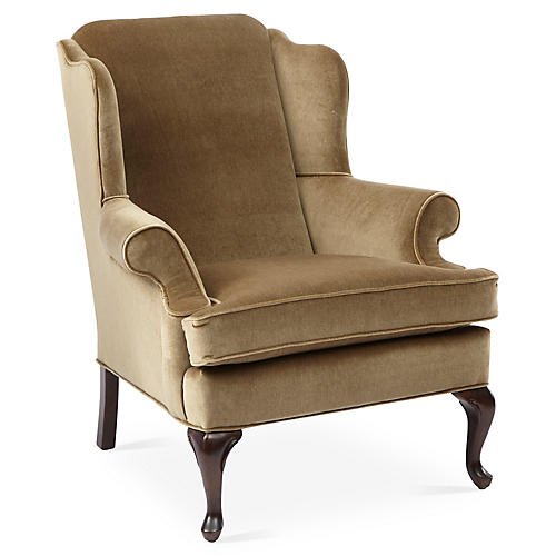 Alstead Wingback Chair, Mink Velvet