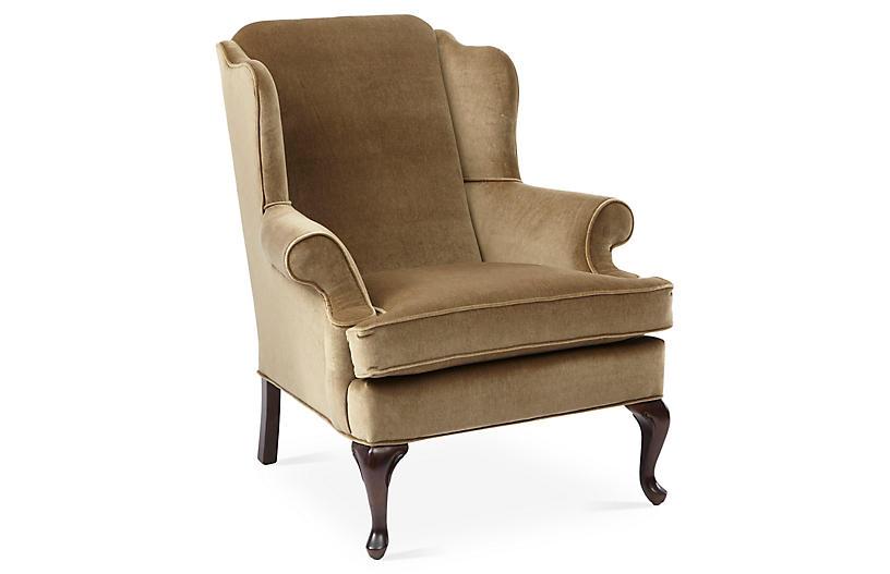 Alstead Wingback Chair - Mink Velvet