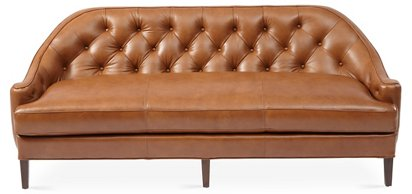 Charlotte Tufted Sofa, Saddle Leather