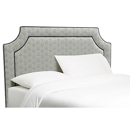 Amelia Headboard, Blue Deco Scallop