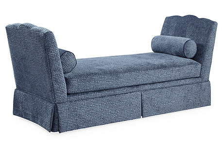 Cheshire Skirted Daybed, Steel Blue