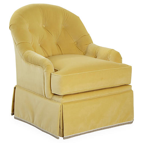 Marlowe Swivel Club Chair, Canary Velvet