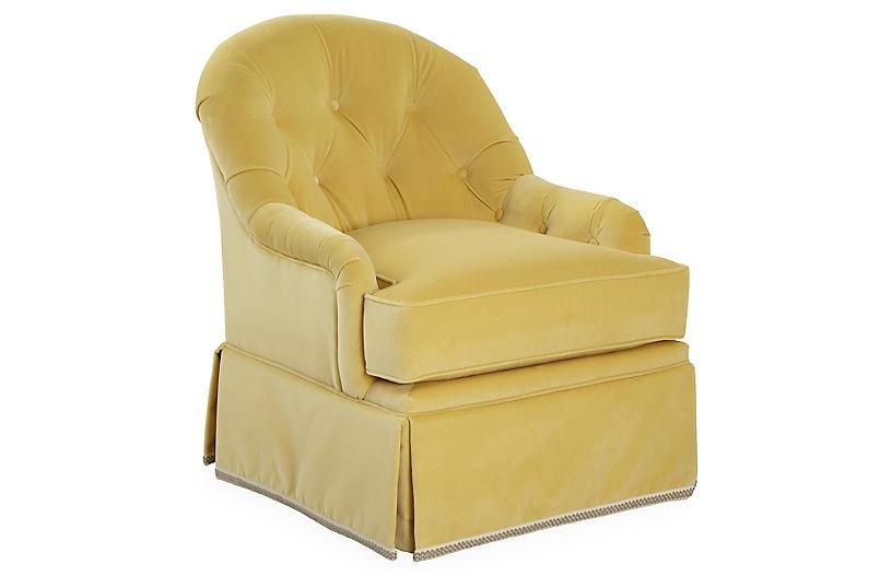 Marlowe Swivel Club Chair, Canary Velvet