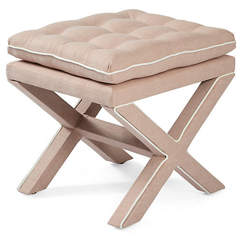 Dalton Pillow-Top Ottoman, Blush/White
