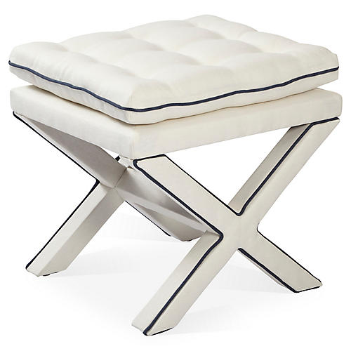 Dalton Pillow-Top Ottoman, White/Navy
