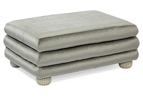 Millbrae Ottoman, Silver Gray Velvet
