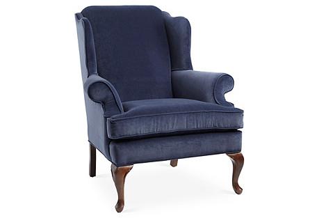Alstead Wingback Chair, Navy Velvet