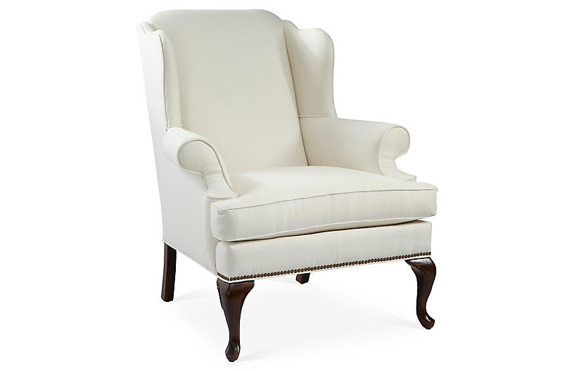 Alstead Wingback Chair, White Linen