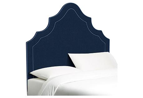 Dorset Arched Headboard, Blue/Navy Linen