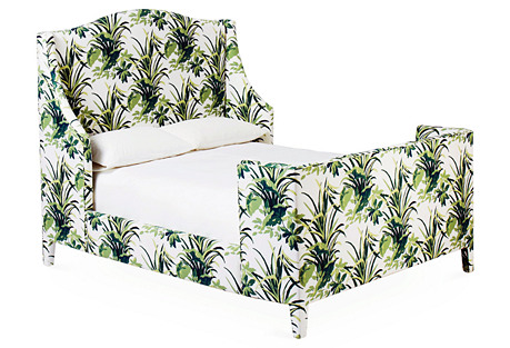 Addison Wingback Panel Bed, Palm Leaf
