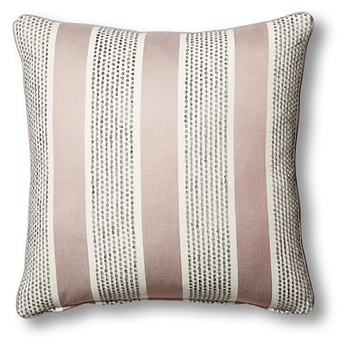 Blair 22x22 Striped Pillow, Mauve Stripe