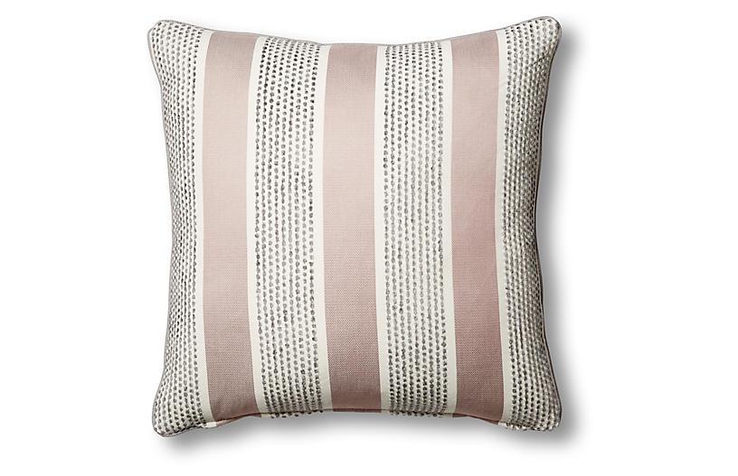 Blair 22x22 Striped Pillow, Mauve Stripe