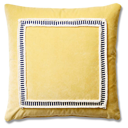 Marni 19x19 Striped Weave Pillow, Canary Velvet