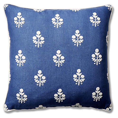 Dina 22x22 Pillow, Bluebell/Stripe Linen