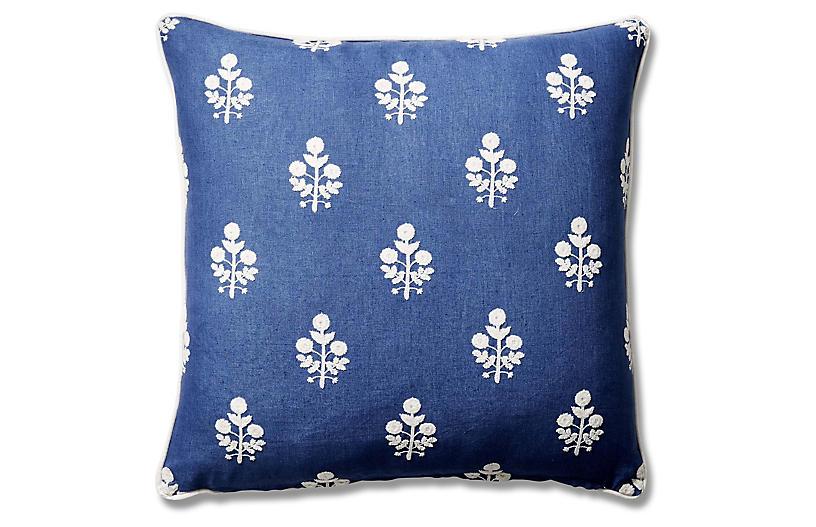 Dina 22x22 Pillow, Bluebell/Stripe Linen
