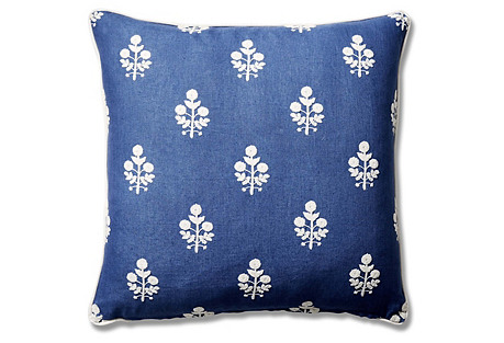 Dina 22x22 Linen Pillow, Bluebell/Stripe