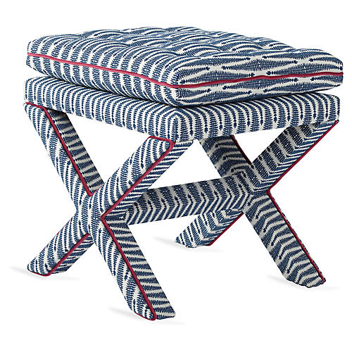 Dalton Pillow-Top Ottoman, Indigo Arrows