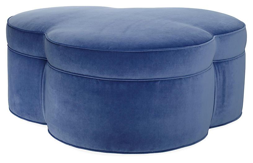 Portsmouth Upholstered Ottoman, Cobalt Velvet