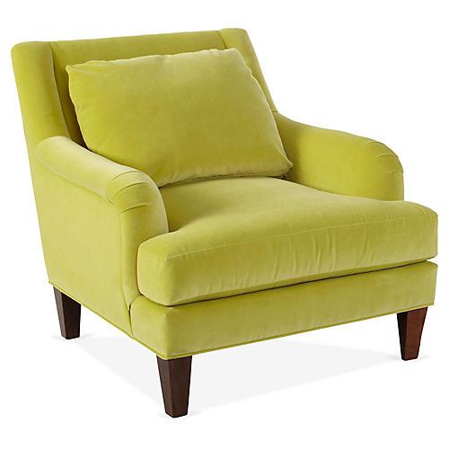 Merrimack Club Chair, Chartreuse Velvet