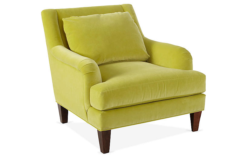 Merrimack Club Chair, Chartreuse Velvet