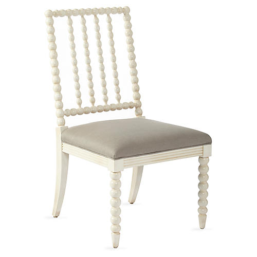 Barton Spindle Side Chair, Stone Linen
