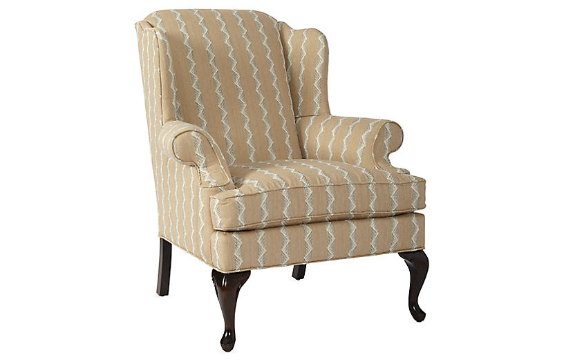 Alstead Wingback Chair, Wheat Stripe