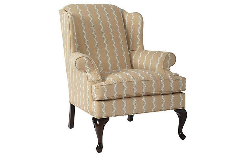Alstead Wingback Chair, Wheat Stripe