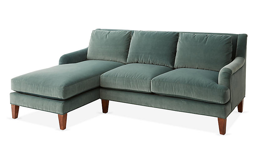 Merrimack Left-Facing Sectional, Jade Velvet