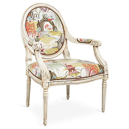 Darcy Armchair, Coral Neo-Toile