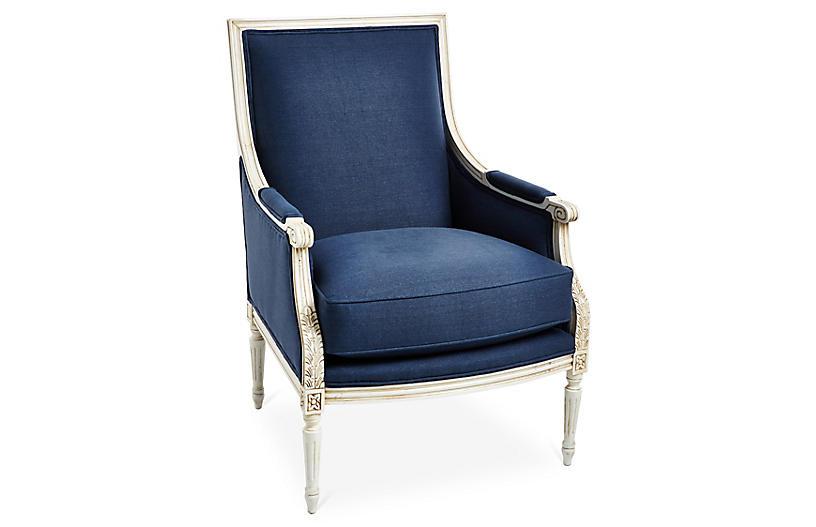 James Accent Chair, Navy Linen