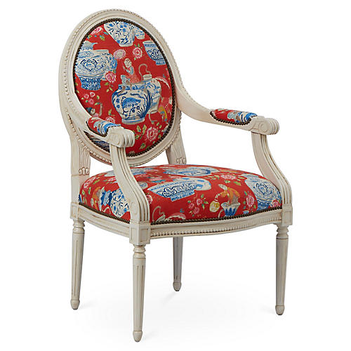 Darcy Armchair, Red Chinoiserie