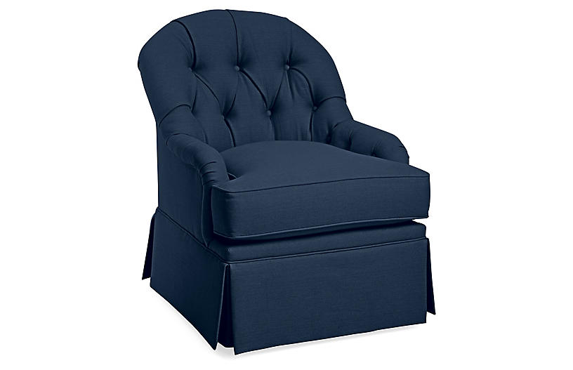 Marlowe Swivel Club Chair, Navy Linen