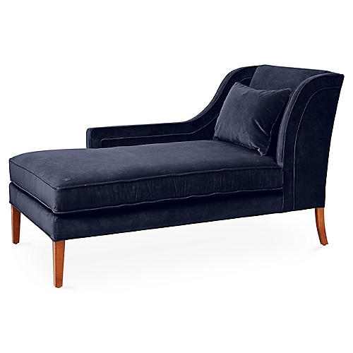 Roslin Left-Facing Chaise, Navy Velvet
