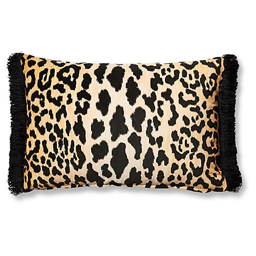 Leopard 12x18 Lumbar Pillow, Brown/Black