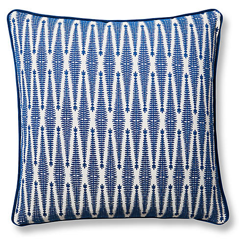 Arrows 19x19 Pillow, Cobalt/Cream