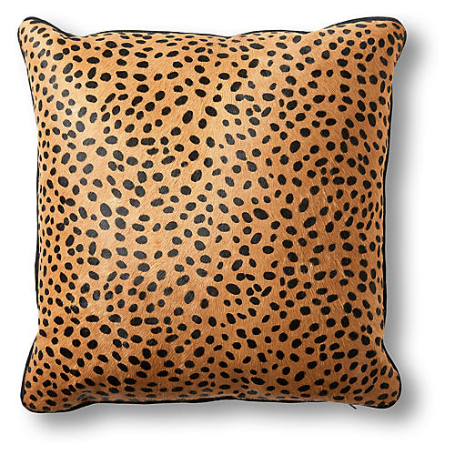 Calla 22x22 Pillow, Cheetah Hair-On Hide
