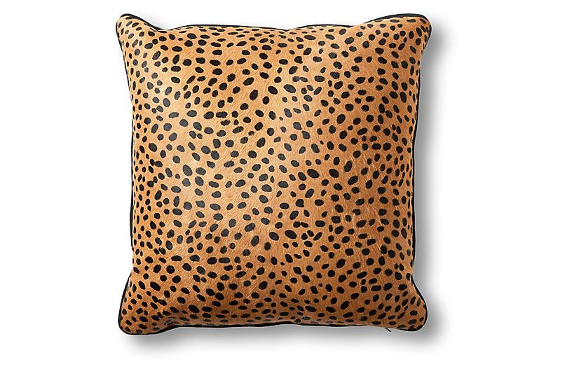 Calla 22x22 Pillow, Cheetah Hair-On Hide